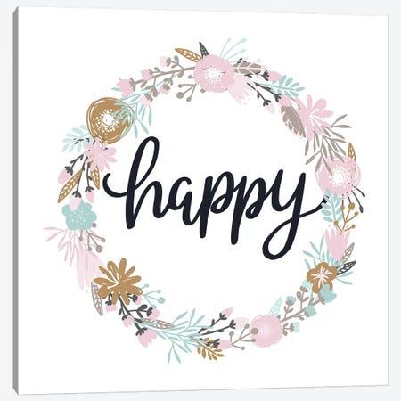 Super Unicorn Designs - Happy Floral Canvas Print #PXY461} by Pixy Paper Canvas Art