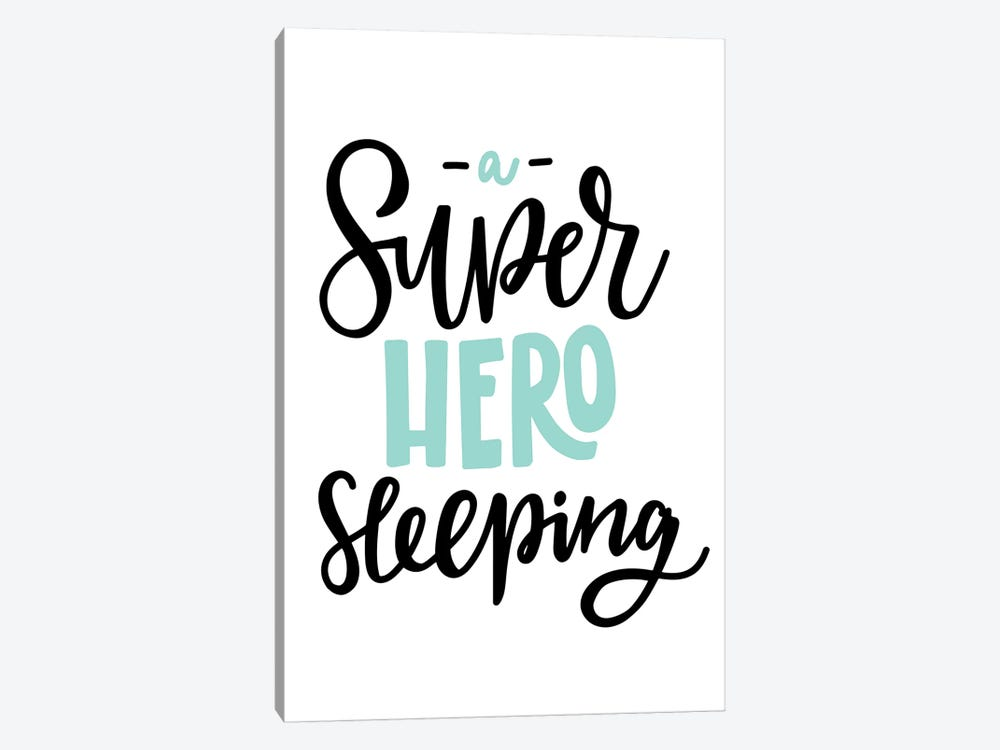 Superhero Sleeping Mint And Black by Pixy Paper 1-piece Canvas Art