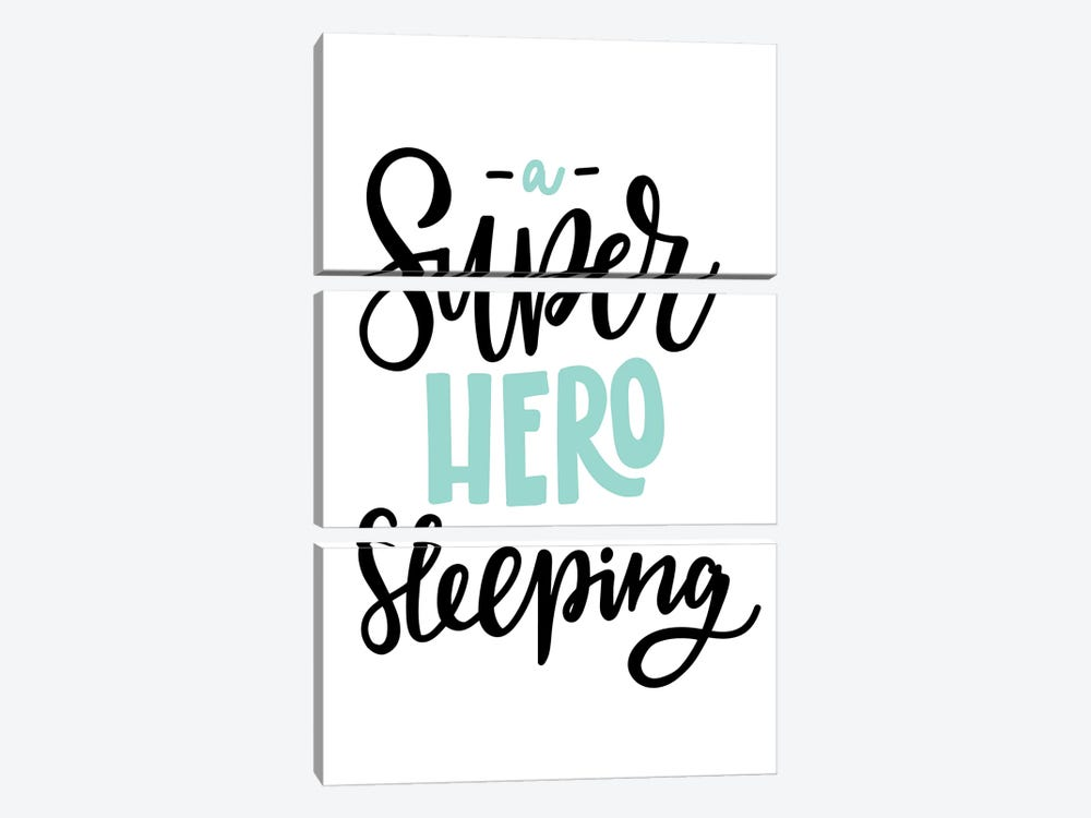 Superhero Sleeping Mint And Black by Pixy Paper 3-piece Canvas Artwork