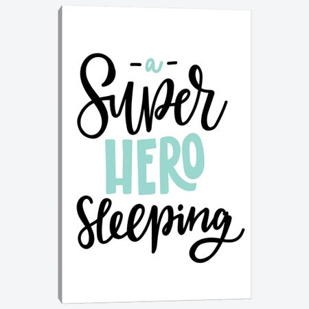 Superhero Sleeping Mint And Black Canvas Print #PXY469} by Pixy Paper Canvas Art