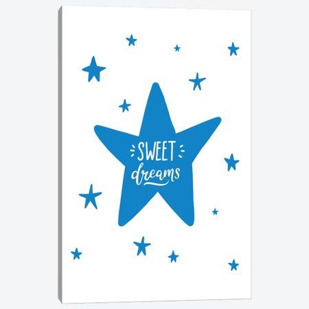 Sweet Dreams Star Blue Super Scandi Canvas Print #PXY472} by Pixy Paper Canvas Art Print