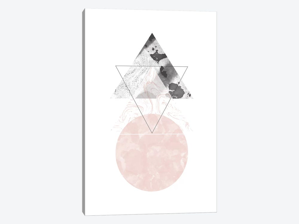 Triangle And Circle Black And Pink Marble Abstract by Pixy Paper 1-piece Art Print