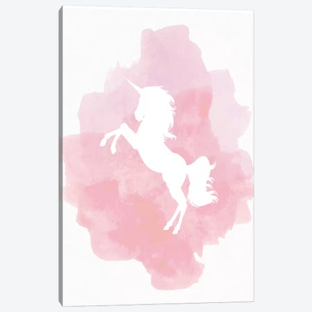 Unicorn Pink Watercolour Canvas Print #PXY497} by Pixy Paper Canvas Wall Art
