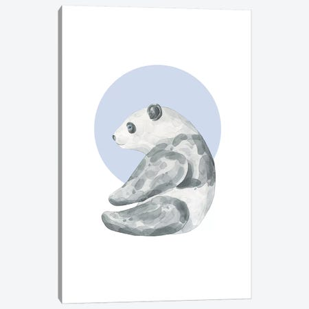 Watercolour Panda With Blue Canvas Print #PXY509} by Pixy Paper Canvas Print