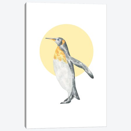 Watercolour Pengin With Yellow Circle Canvas Print #PXY510} by Pixy Paper Canvas Wall Art