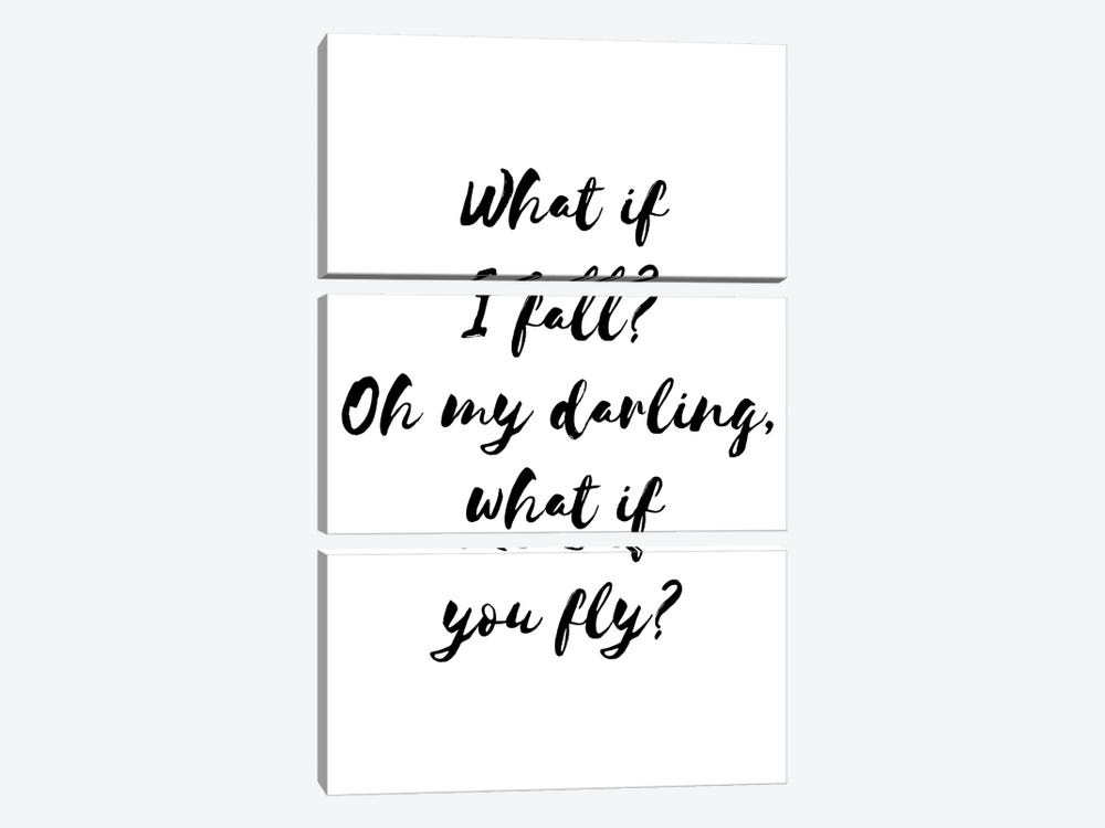What If I Fall Blck by Pixy Paper 3-piece Canvas Wall Art