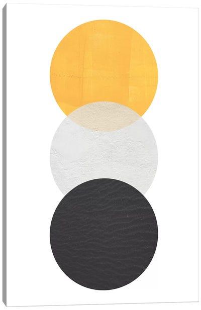 Yellow And Black Circles Canvas Art Print