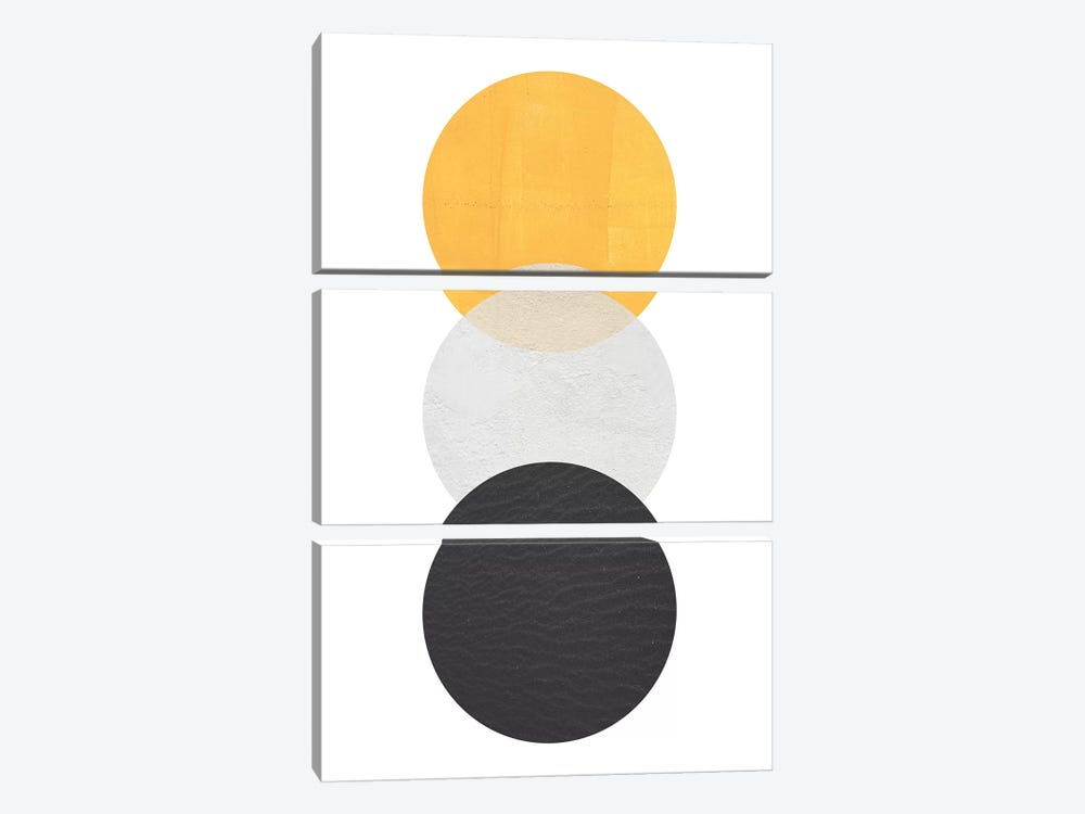 Yellow And Black Circles by Pixy Paper 3-piece Canvas Print