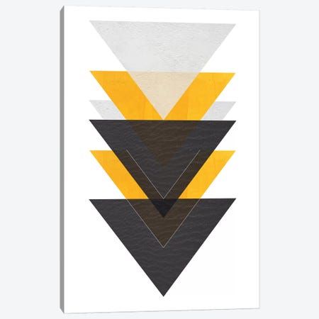 Yellow And Black Triangles Canvas Print #PXY536} by Pixy Paper Canvas Art Print