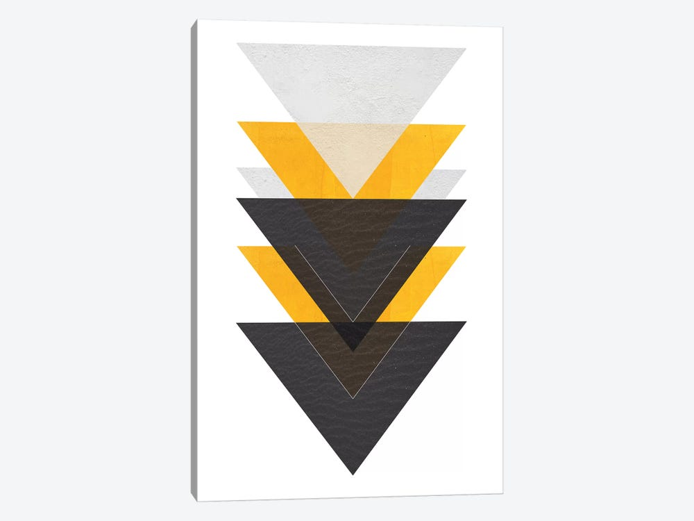 Yellow And Black Triangles by Pixy Paper 1-piece Art Print