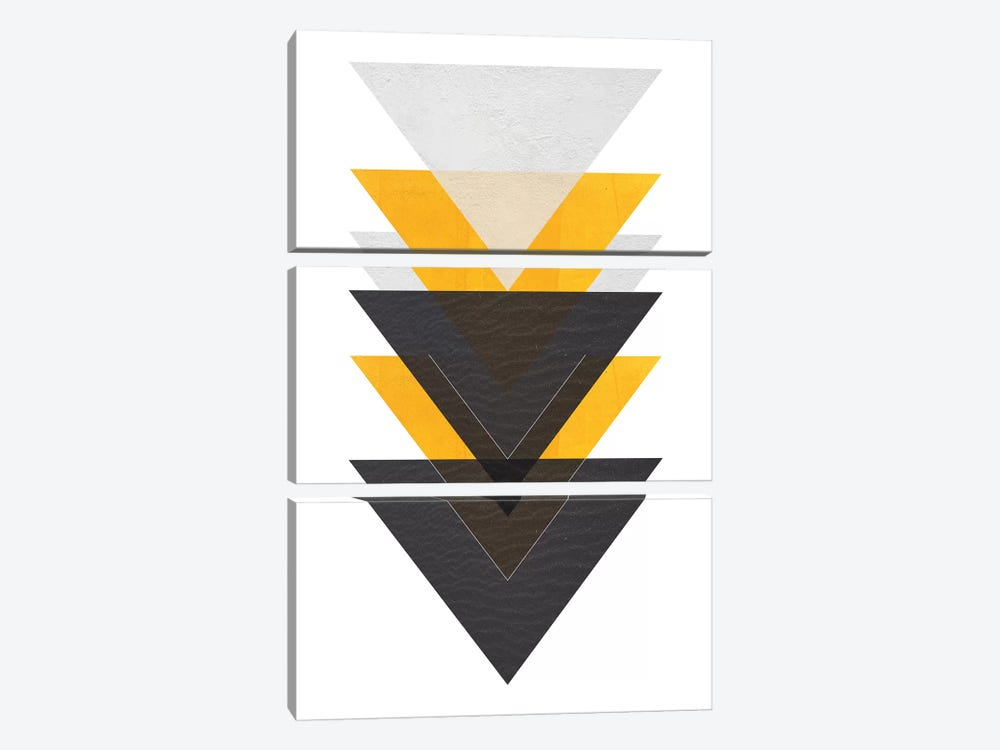 Yellow And Black Triangles by Pixy Paper 3-piece Canvas Art Print