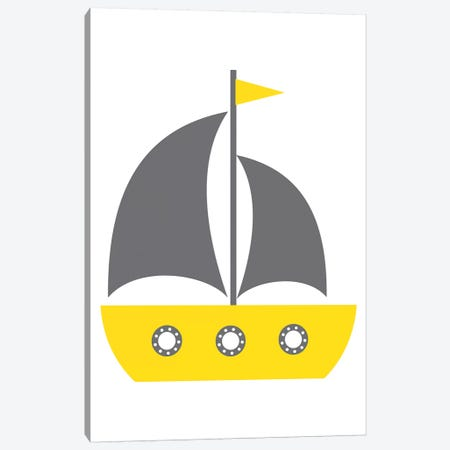Yellow Boat Nordic Design Canvas Print #PXY537} by Pixy Paper Canvas Art Print