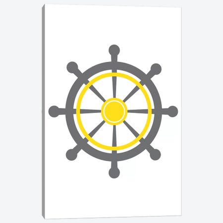 Yellow Boat Wheel Nordic Design Canvas Print #PXY538} by Pixy Paper Canvas Art
