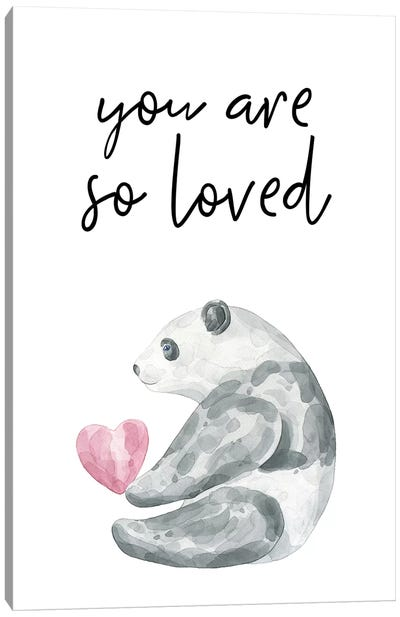 You Are So Loved Panda Watercolour Canvas Art Print
