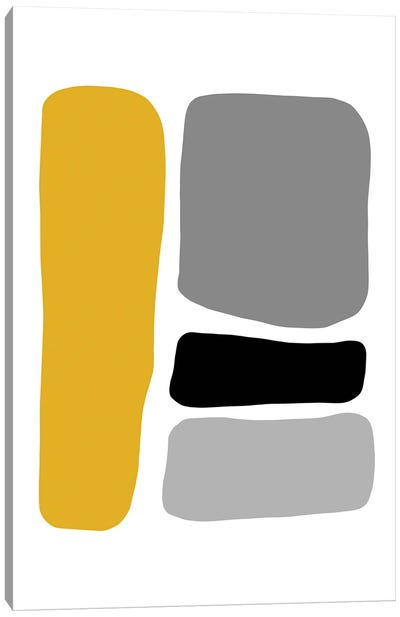 Abstract Hobbled Stones Mustard And Black Four Canvas Art Print