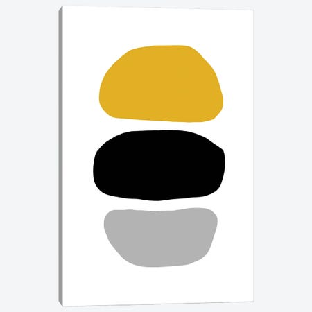 Abstract Hobbled Stones Mustard And Black Three Canvas Print #PXY558} by Pixy Paper Canvas Wall Art