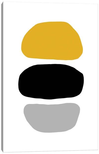 Abstract Hobbled Stones Mustard And Black Three Canvas Art Print