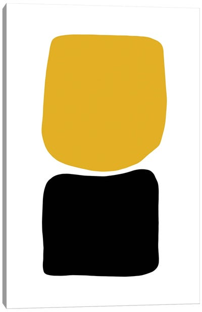 Abstract Hobbled Stones Mustard And Black Two Canvas Art Print