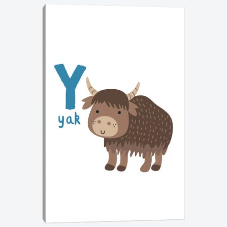 Animal Alphabet - Y Canvas Print #PXY55} by Pixy Paper Canvas Wall Art