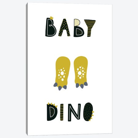 Baby Dino Canvas Print #PXY57} by Pixy Paper Canvas Art