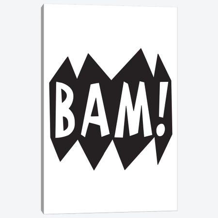 BAM! Black Canvas Print #PXY59} by Pixy Paper Art Print