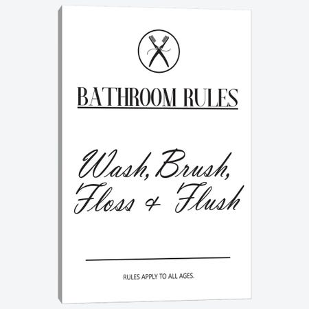 Bathroom Rules Canvas Print #PXY62} by Pixy Paper Canvas Art