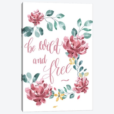 Be Wild And Free Pink Floral Collection Canvas Print #PXY69} by Pixy Paper Canvas Art