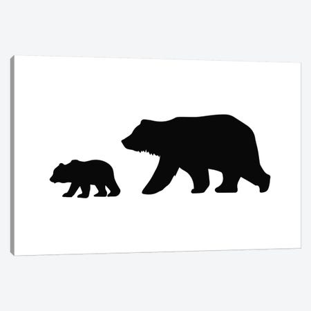 Big And Small Bear Landscape Black Novelty Canvas Print #PXY76} by Pixy Paper Canvas Artwork