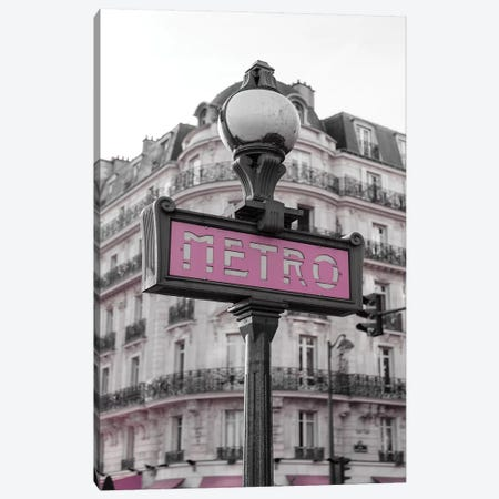 Black & White Pink Metro Canvas Print #PXY81} by Pixy Paper Canvas Wall Art