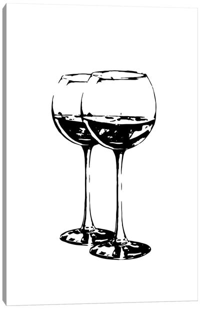 Black Wine Glasses Canvas Art Print