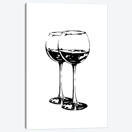 Black Wine Glasses Canvas Print #PXY87} by Pixy Paper Art Print