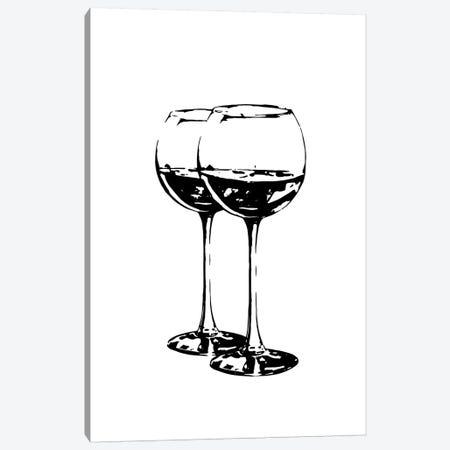 Black Wine Glasses Canvas Print #PXY87} by Pixy Paper Art Print