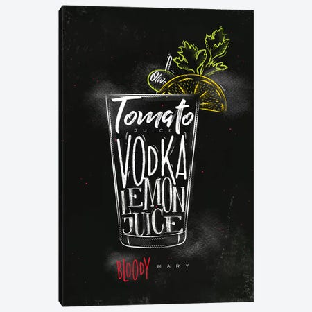 Bloody Mary Cocktail Black Background Canvas Print #PXY88} by Pixy Paper Canvas Artwork
