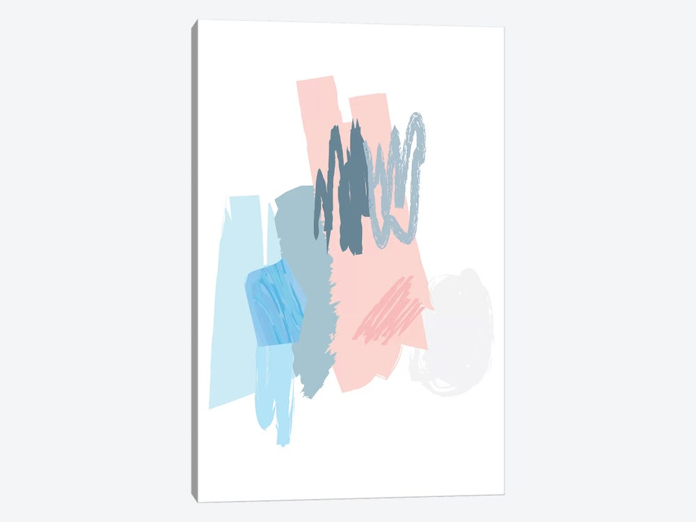 Blue And Pink Scribbles by Pixy Paper 1-piece Canvas Wall Art