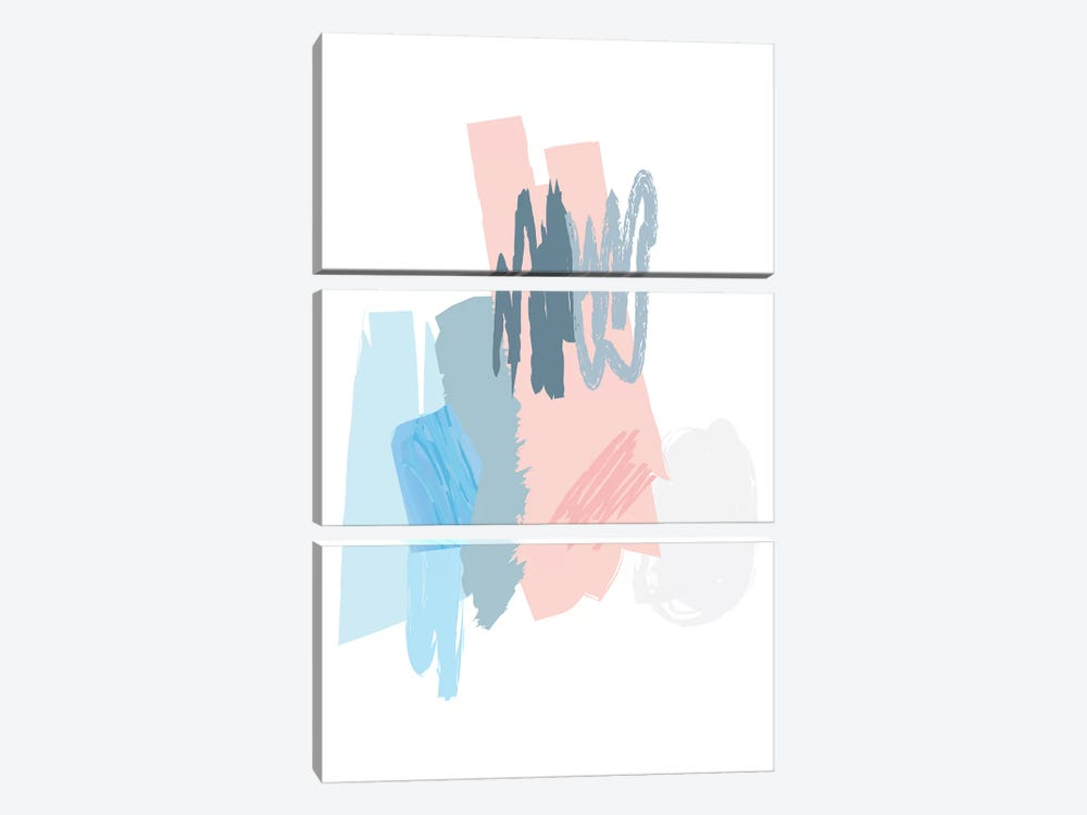 Blue And Pink Scribbles by Pixy Paper 3-piece Canvas Wall Art