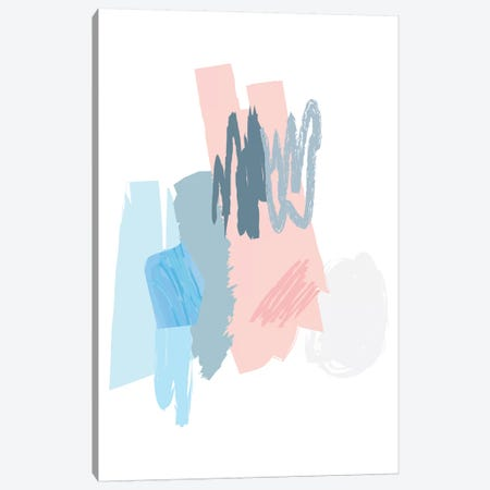 Blue And Pink Scribbles Canvas Print #PXY91} by Pixy Paper Canvas Art Print