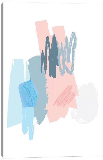 Blue And Pink Scribbles Canvas Art Print