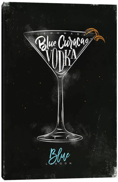Blue Lagoon Cocktail Black Background Canvas Art Print