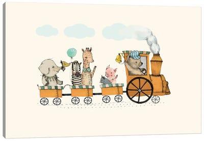 Animals Train Canvas Art Print