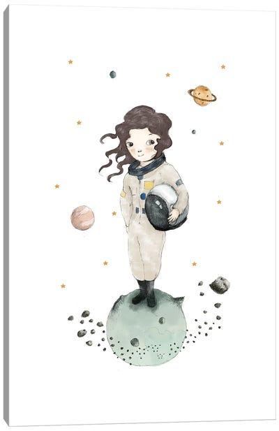 Astronaut Girl Brunette Canvas Art Print