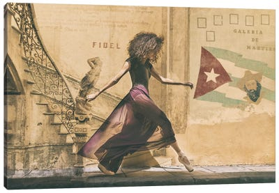 Walking In Havana Canvas Art Print