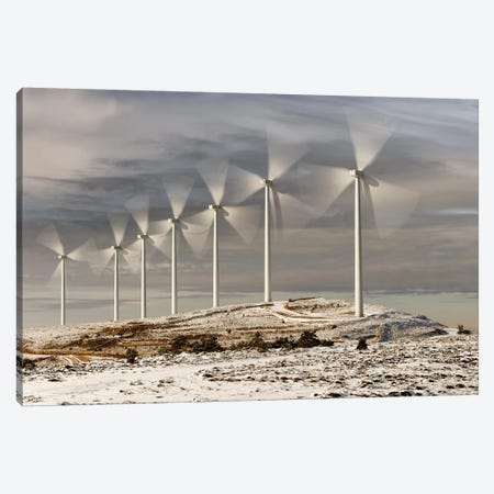 Wind Turbines 3-Piece Canvas #RAA21} by Joan Gil Raga Canvas Print