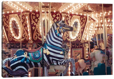 Zebra Carousel Canvas Art Print