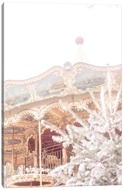 Merry Go Round In The Snow Canvas Art Print