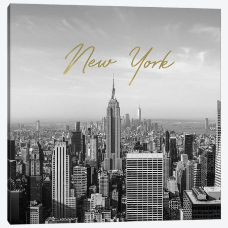 Golden New York Canvas Print #RAB144} by Ruby and B Canvas Artwork