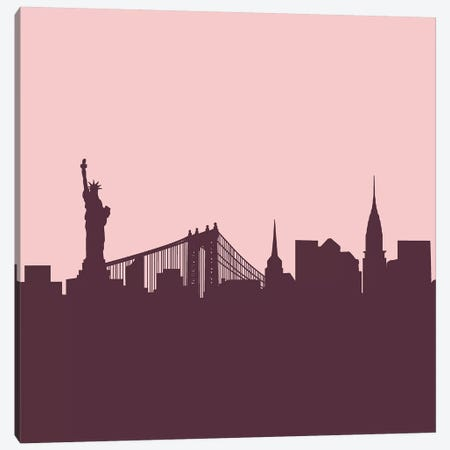 New York Skyline Graphic Print Canvas Print #RAB147} by Ruby and B Canvas Wall Art