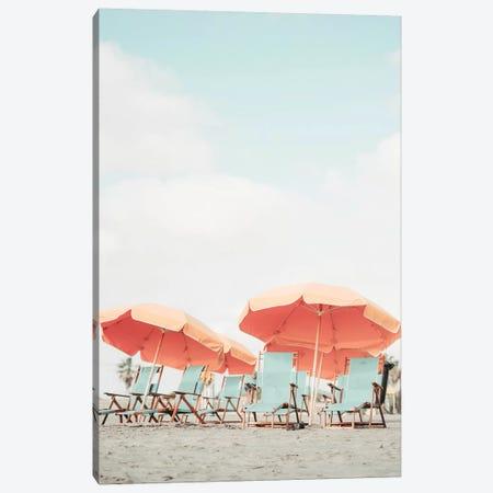Orange Beach Umbrella's Canvas Print #RAB157} by Ruby and B Art Print