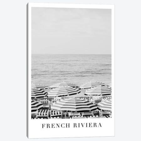 French Riviera Black And White Travel Print Canvas Print #RAB159} by Ruby and B Canvas Artwork