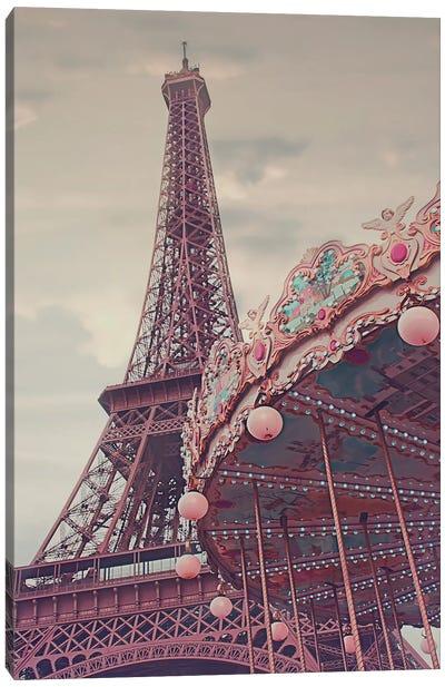 Eiffel Tower Carousel Canvas Art Print