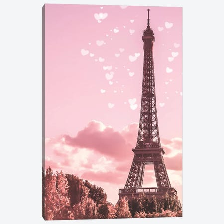 Pink Eiffel Tower Canvas Print #RAB164} by Ruby and B Canvas Wall Art